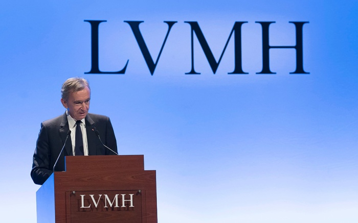 CEO of French luxury goup LVMH, Bernard Arnault attends a new conference to present the group's annual results, in Paris, France, 29 January 2019. According to reports, the world's leading luxury products group, recorded 46.8 billion euros revenue in 2018, 10 percent more than in the previous year.LVMH annual results, Paris, France - 29 Jan 2019