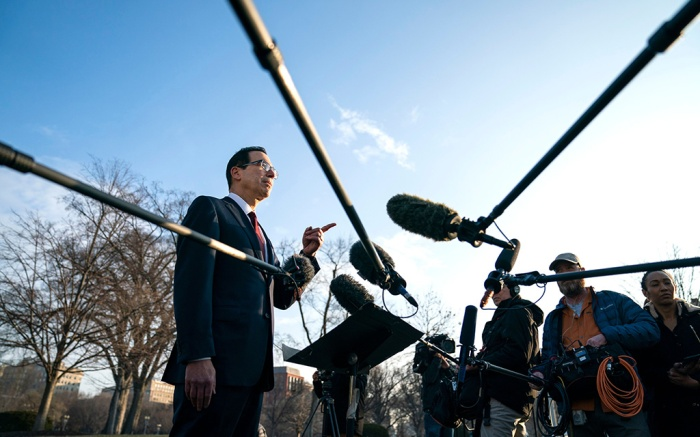 US Treasury Secretary Steven Mnuchin (L) speaks to the media about President Trump's economic plan outside the White House in Washington, DC, USA, 06 February 2019. Mnuchin will travel to China next week for trade negotiations.Treasury Secretary Steven Mnuchin speaks outside White House, Washington, USA - 06 Feb 2019