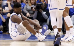 Duke's Zion Williamson sits on the
