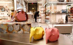 Elephant handbags displayed at Saks Fifth
