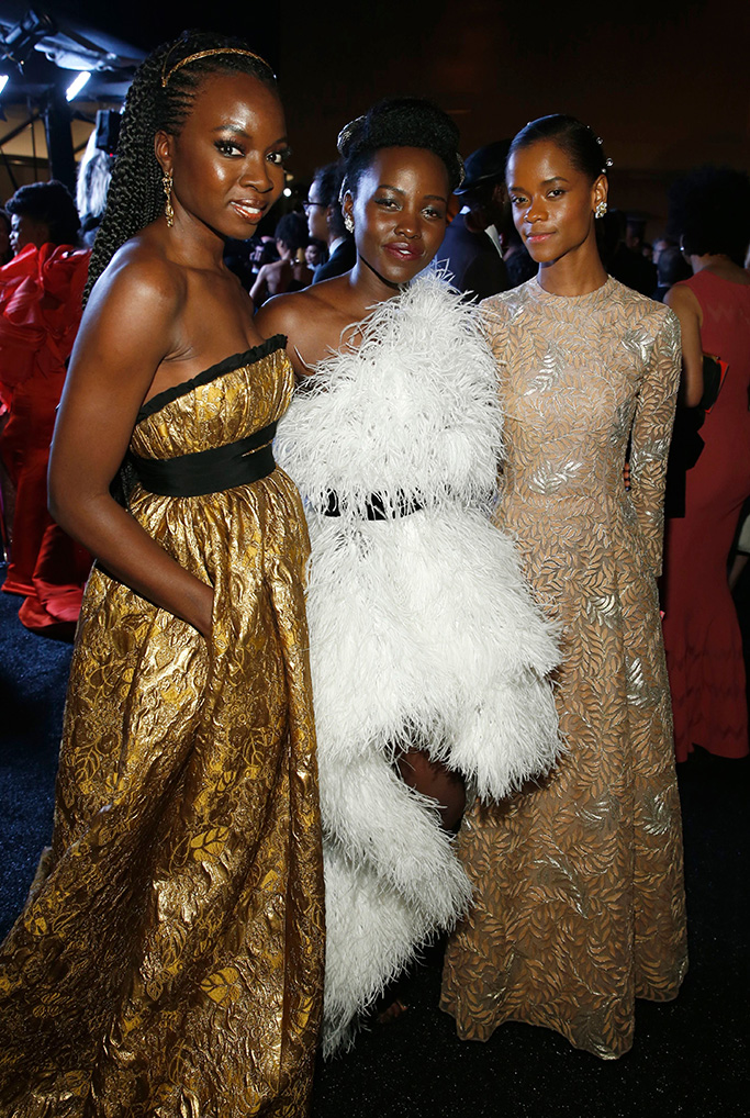 Danai Gurira, Lupita Nyong'o, Letitia Wright. Danai Gurira, from left, Lupita Nyong'o and Letitia Wright attend the Governors Ball after the Oscars, at the Dolby Theatre in Los Angeles91st Academy Awards - Governors Ball, Los Angeles, USA - 24 Feb 2019
