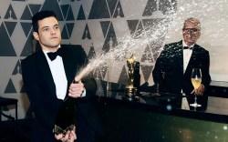 Rami Malek popping champagne91st Annual Academy
