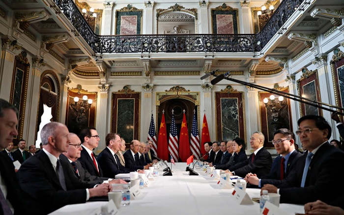 Robert Lighthizer, Steven Mnuchin, Wilbur Ross, Larry Kudlow, Peter Navarro, Liu He. U.S. and Chinese delegations meet in the Indian Treaty Room in the Eisenhower Executive Office Building on the White House complex during continuing meetings on the U.S.-China bilateral trade relationship in Washington. Relief swept across world financial markets Monday after President Donald Trump pushed back a March 2 deadline in a trade dispute with China. But the respite might not lastChina Trade Q A, Washington, USA - 21 Feb 2019