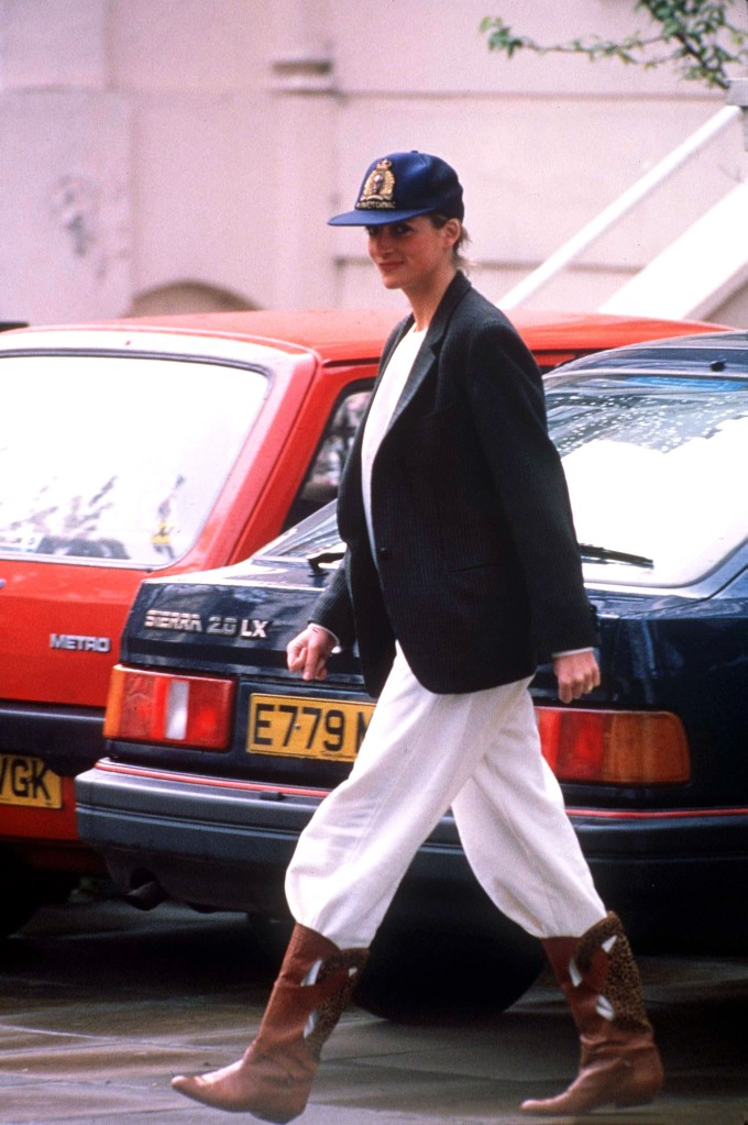 Princess Diana, cowboy boots, sweatpants, blazer, baseball cap, Prince Harry going back to school, Britain - Apr 1989