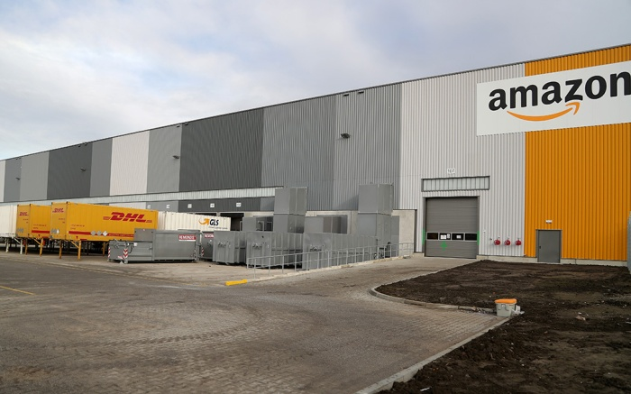 A general exterior view of the new Amazon Logistic and Fulfillment Center in Dortmund, Germany, 14 November 2017. The Fulfillment Center is reportedly one of Amazon's newest and most modern European facilities and said to create hundreds of new jobs in Dortmund.Amazon Logistics and Fulfillment Center in Dortmund, Germany - 14 Nov 2017