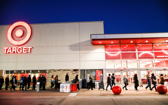 Shoppers wait in queue outside for Black Friday sales at a Target store, in Newport, KyHoliday Shopping, Newport, USA - 23 Nov 2018