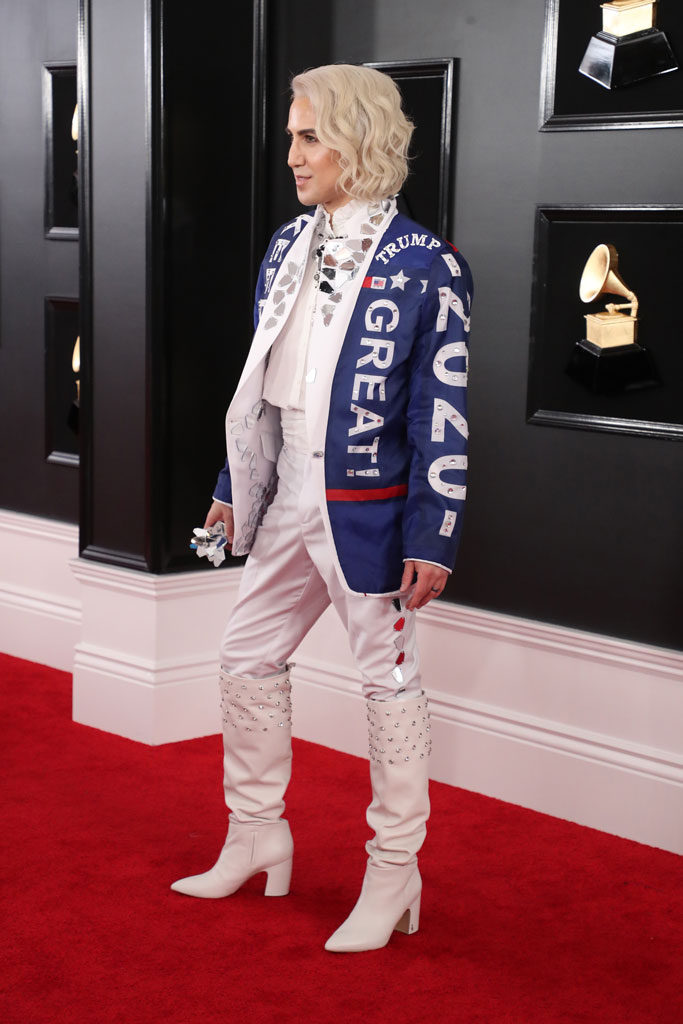 Ricky Rebel, Make America Great Again, MAGA, Grammy Awards, red carpet, celebrity style, donald trump