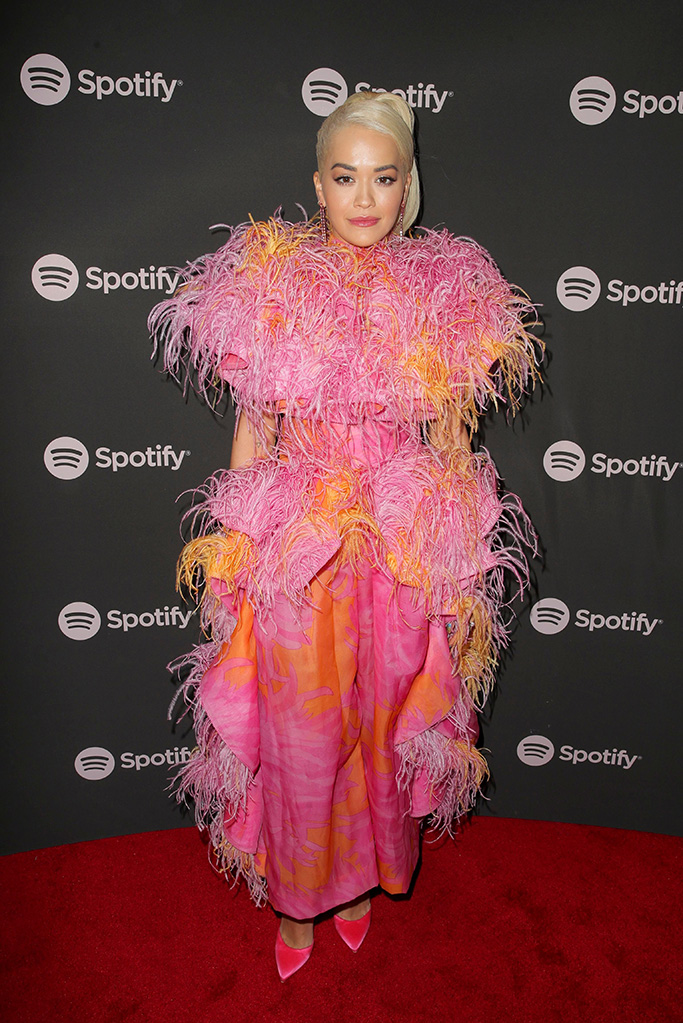 Rita Ora, Spotify presents the Best New Artist 2019 Party, Arrivals, Hammer Museum, Los Angeles, USA - 07 Feb 2019Wearing Marc Jacobs Same Outfit as catwalk model *9879751x, celebrity style, pumps