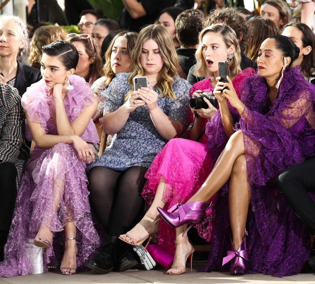 rodarte fall 2019 front row, Rowan Blanchard, Jessie Ennis, Brie Larson, Tracee Ellis Ross