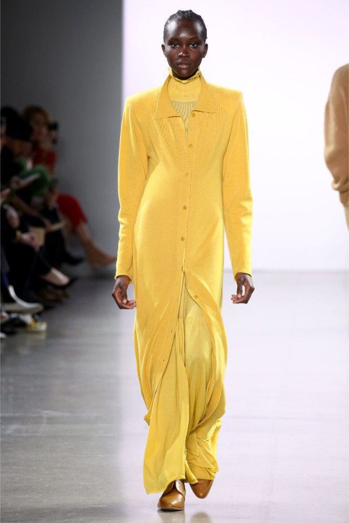 ryan roche, runway, yellow, leather, george esquivel
