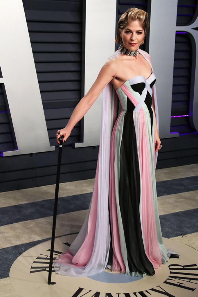 Selma Blair, bedazzled cane, red carpet style, Vanity Fair Oscar Party, Arrivals, Los Angeles, USA - 24 Feb 2019Wearing Ralph & Russo Same Outfit as Catwalk Model *9731902ar