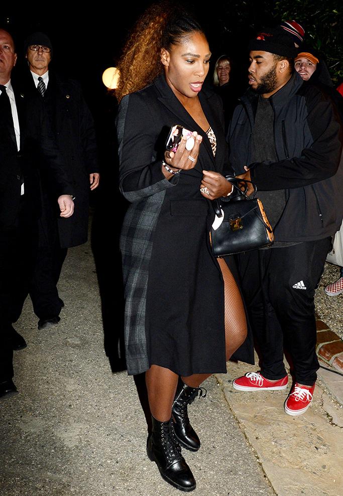 Serena Williams, leopard prints, legs, combat boots, WME Pre-Oscar Party, Arrivals, Los Angeles, USA - 22 Feb 2019