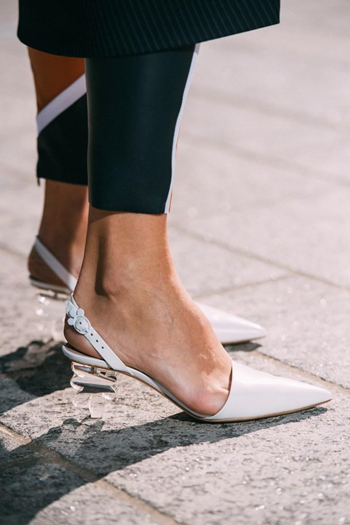 Simone Rocha, white pumps, clear heel, street style, milan fashion week, fall 2019