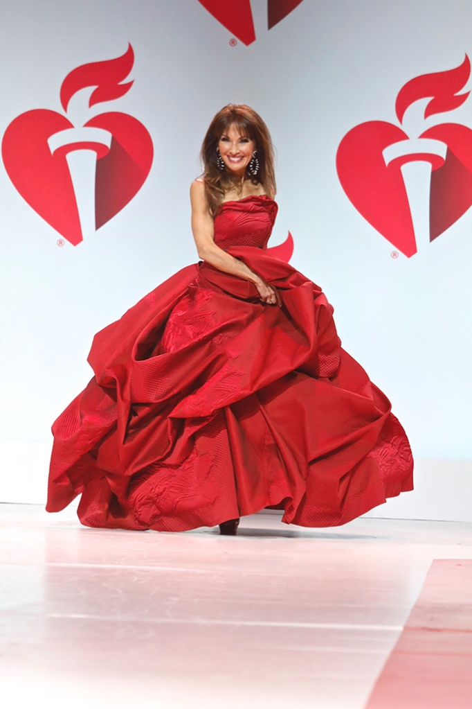Susan Lucci, tumble, on catwalk15th Annual American Heart Association's 'Go Red for Women' Red Dress Collection show, Runway, Fall Winter 2019, New York Fashion Week, USA - 07 Feb 2019Wearing Rubin Singer