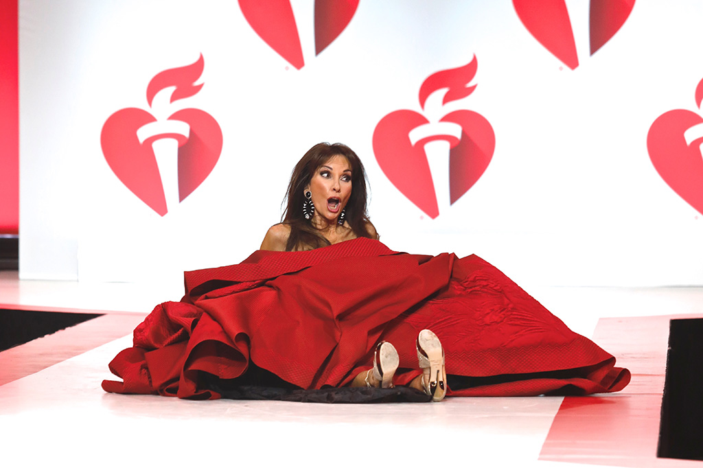 Susan Lucci, falls, tumble, wipeout, on catwalk15th Annual American Heart Association's 'Go Red for Women' Red Dress Collection show, Runway, Fall Winter 2019, New York Fashion Week, USA - 07 Feb 2019