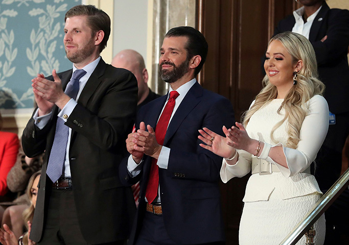 tiffany trump, celebrity style, white dress, embellished pumps, Eric Trump, left, Donald Trump Jr., center and Tiffany trump applaud as President Donald Trump delivers his State of the Union address to a joint session of Congress on Capitol Hill in WashingtonState of Union, Washington, USA - 05 Feb 2019