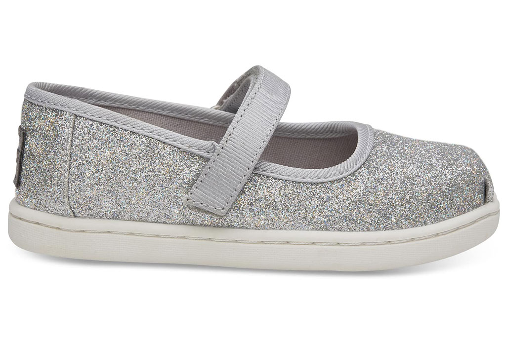 Toms glittery silver Mary-Janes