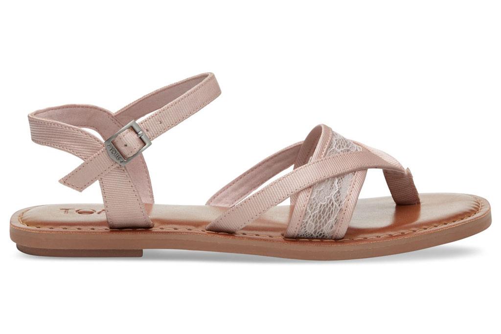 Toms petal pink lace grosgrain Lexie sandal.
