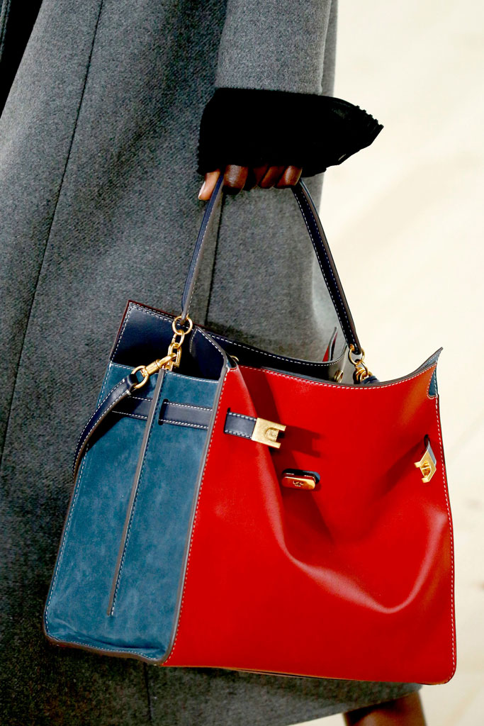 Tory Burch, handbag, red, blue, runway, nyfw