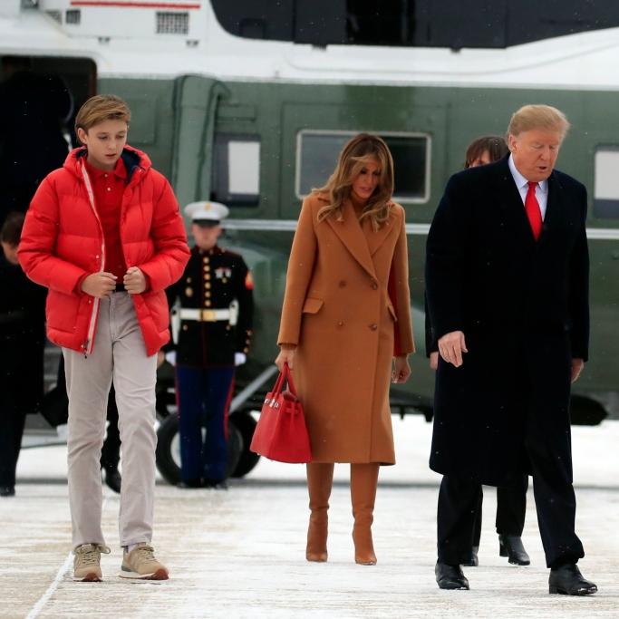 melania trump, barron trump, president donald trump, mar-a-lago, gianvito rossi boots, new balance sneakers