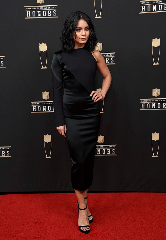 Vanessa Hudgens arrives at the 8th Annual NFL Honors at The Fox Theatre, in Atlanta8th Annual NFL Honors, Atlanta, USA - 02 Feb 2019, celebrity style, greta constantine, dress, high heels,