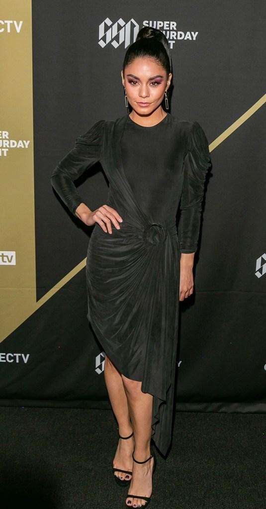 Vanessa Hudgens, Jonathan Simkhai, celebrity style, black dress, sandals, high heels, DIRECTV Super Saturday Night, Atlanta, USA - 02 Feb 2019
