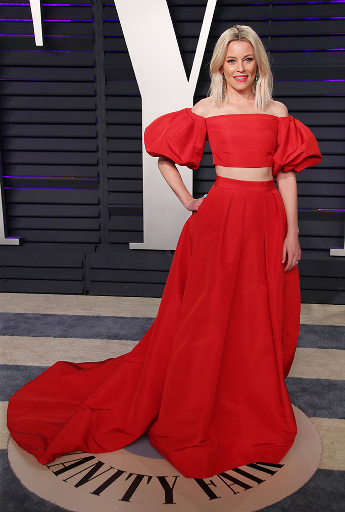 Elizabeth Banks, red dress, jimmy choo, Vanity Fair Oscar Party, Arrivals, Los Angeles, USA - 24 Feb 2019