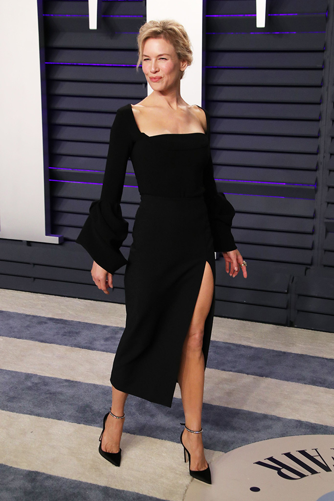 Renee Zellweger, black dress, jimmy choo heels, Vanity Fair Oscar Party, Arrivals, Los Angeles, USA - 24 Feb 2019