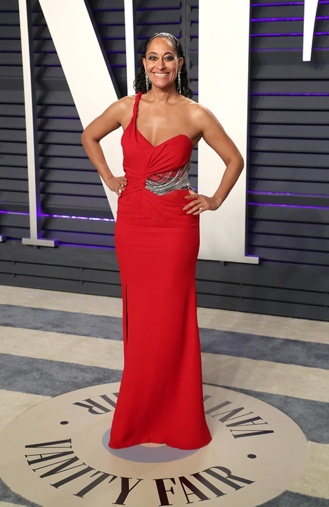 Tracee Ellis Ross, versace, louboutin, red dress, Vanity Fair Oscar Party, Arrivals, Los Angeles, USA - 24 Feb 2019