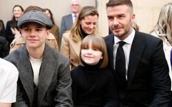 Romeo Beckham, Harper Beckham and David