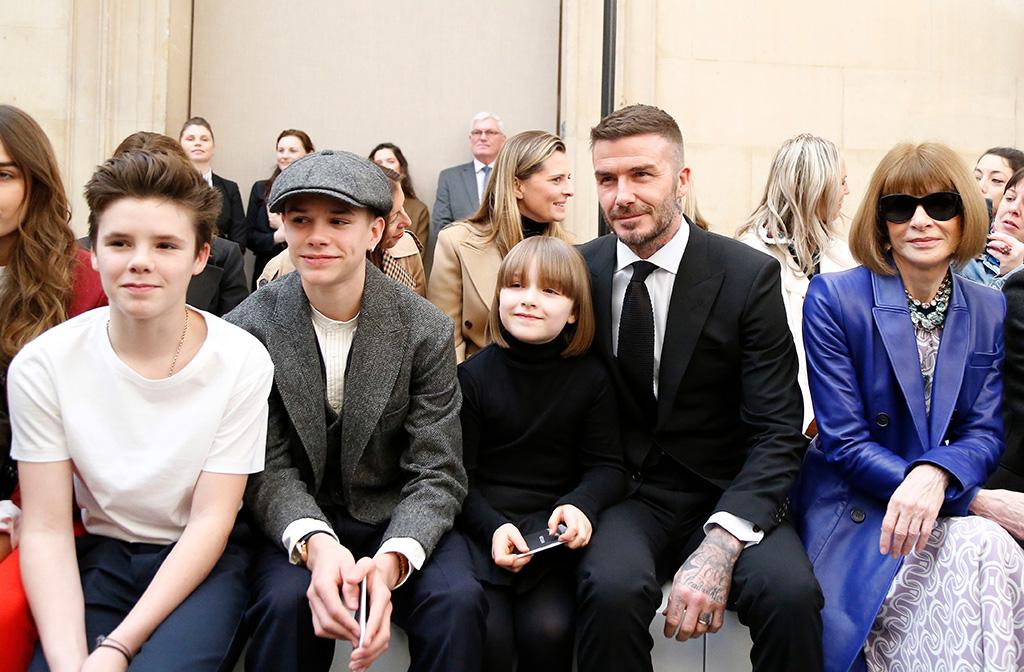 Cruz Beckham, Romeo Beckham, Harper Beckham, David Beckham and Anna Wintour in the front rowVictoria Beckham show, Front Row, Fall Winter 2019, London Fashion Week, UK - 17 Feb 2019