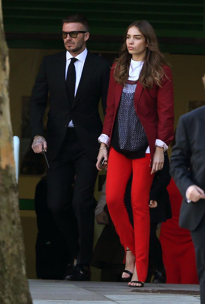 David Beckham and Hana CrossVictoria Beckham show, Departures, Fall Winter 2019, London Fashion Week, UK - 17 Feb 2019
