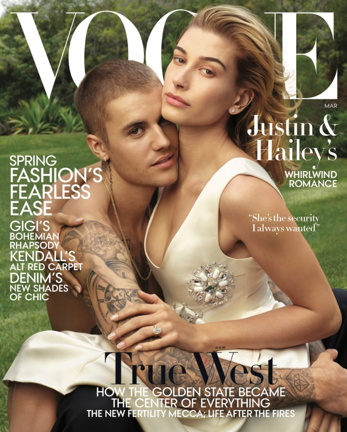 vogue cover, hailey baldwin, justin bieber