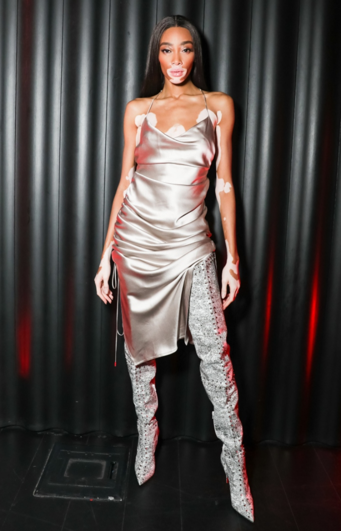 winnie harlow, louboutin, new york fashion week