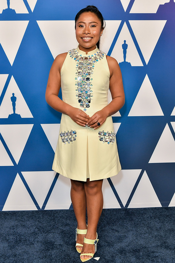 Yalitza AparicioThe Academy Awards Nominees Luncheon, The Beverly Hilton, Los Angeles, USA - 04 Feb 2019 Wearing Prada, Shoes by Chloe Gosselin