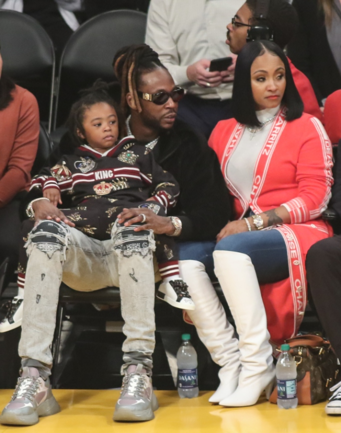 2 chainz wife, 2 chainz son, lakers game