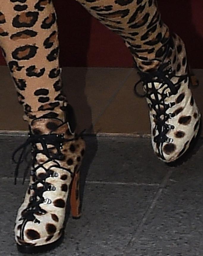 kim kardashian, alaia 135 leopard-print calf hair ankle boots