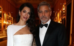 Amal Clooney and George Clooney wear
