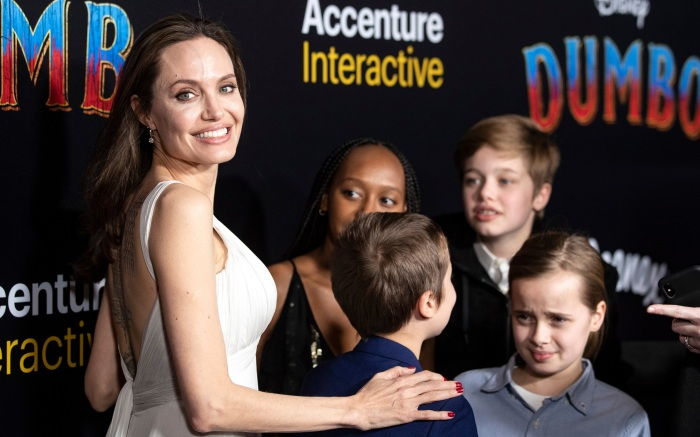 Angelina Jolie and her children arrive for the premiere of 'Dumbo' at the El Capitan Theater in Hollywood, California, 11 March 2019. The movie 'Dumbo' will start screening on 29 March 2019.Dumbo movie premiere in Hollywood, USA - 11 Mar 2019