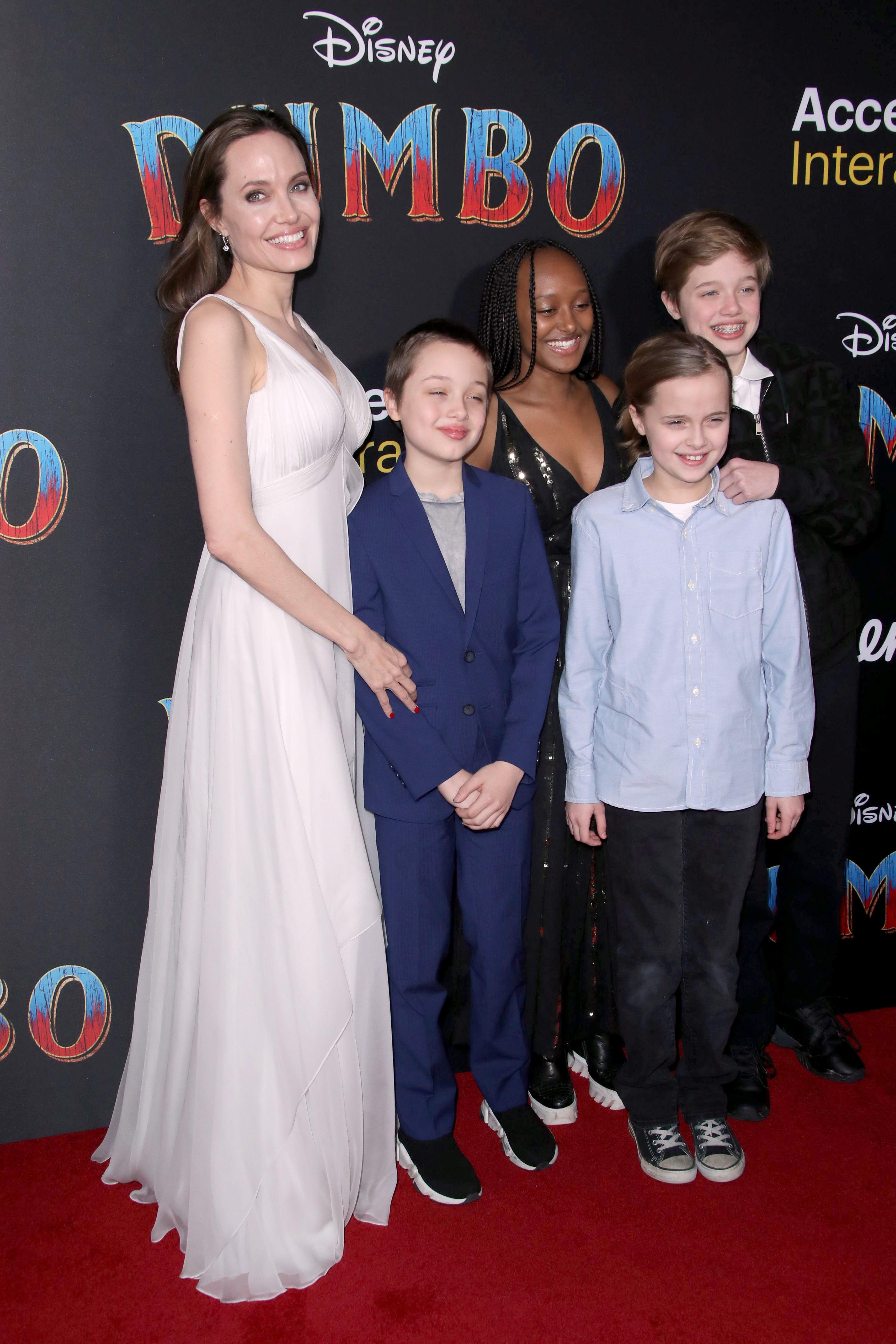 Angelina Jolie with children Shiloh Jolie-Pitt, Vivienne Jolie Pitt, Zahara Jolie Pitt and Knox Jolie Pitt'Dumbo' film premiere, Arrivals, Los Angeles, USA - 11 Mar 2019