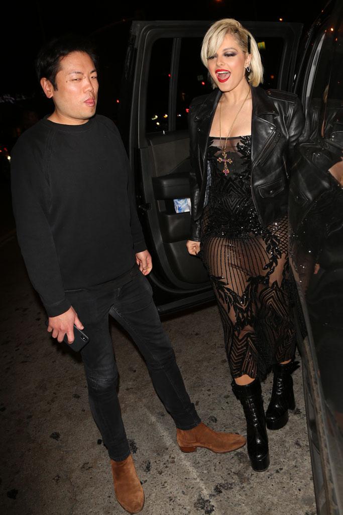 Bebe Rexha, the abbey, los angeles, celebrity style, see-through dress, balenciaga leather jacket