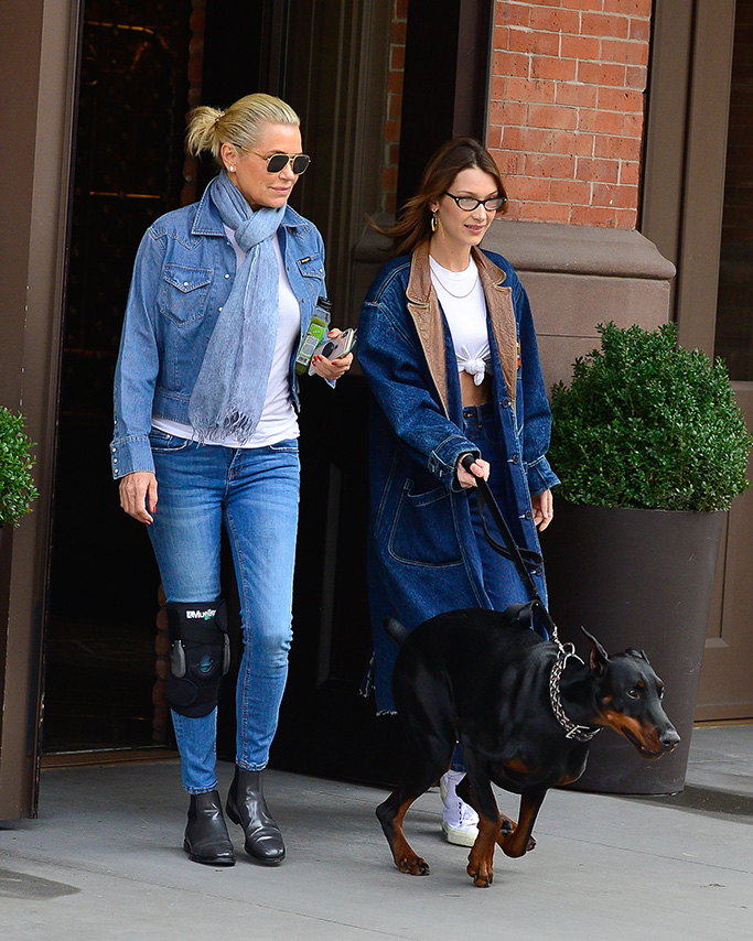 Bella Hadid, celebrity style, double denim, white high-top sneakers, steps out with dog and her Mother, Yolanda Hadid.Pictured: Bella Hadid,Yolanda HadidRef: SPL5075929 300319 NON-EXCLUSIVEPicture by: North Woods / SplashNews.comSplash News and PicturesLos Angeles: 310-821-2666New York: 212-619-2666London: 0207 644 7656Milan: 02 4399 8577photodesk@splashnews.comWorld Rights