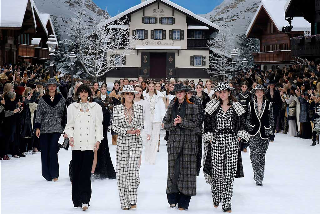 Chanel fall '19 finale with Cara Delevingne and friends at Paris Fashion Week.