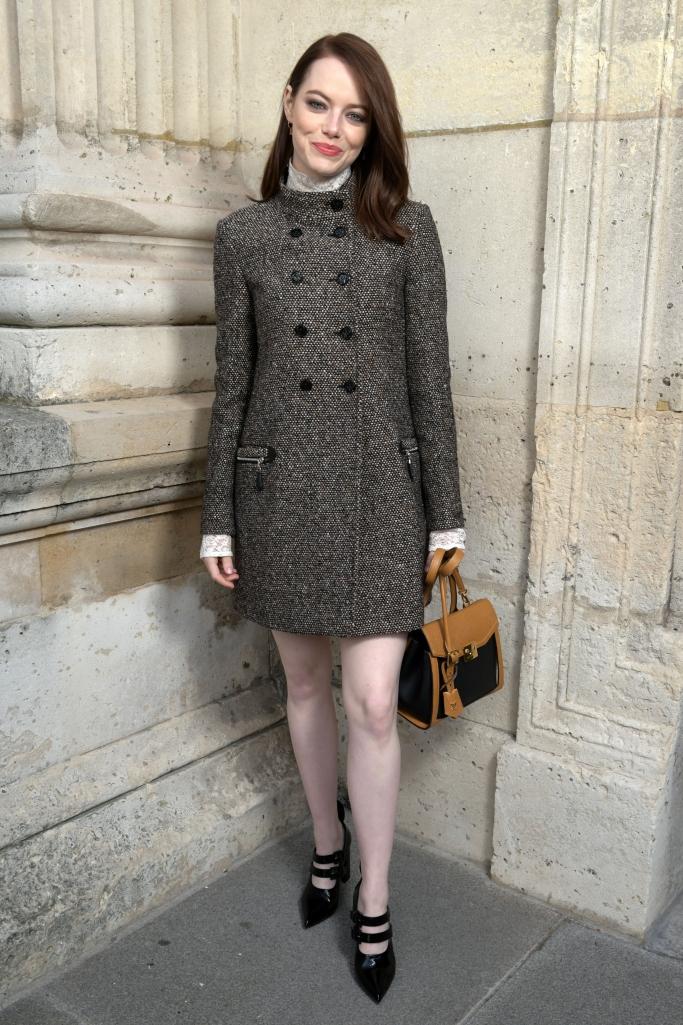 louis vuitton, emma stone, front row, paris fashion week