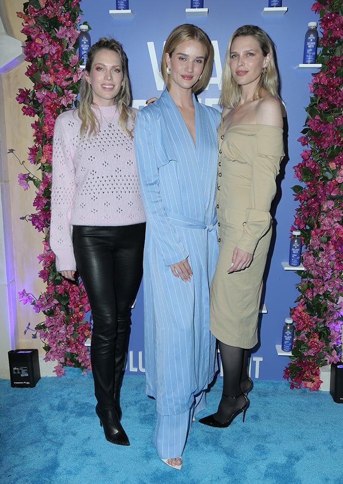 IRVINE, CA - MAR 6: Celebrities attend the Launch Party for Vital Proteins' Collagen Water held at a private residence in Irvine, California on March 6, 2019.Pictured: Erin Foster,Rosie Huntington-Whiteley,Sara Foster Ref: SPL5070425 070319 NON-EXCLUSIVE Picture by: @ParisaMichelle / SplashNews.com  Splash News and Pictures Los Angeles: 310-821-2666 New York: 212-619-2666 London: 0207 644 7656 Milan: 02 4399 8577 photodesk@splashnews.com  World Rights