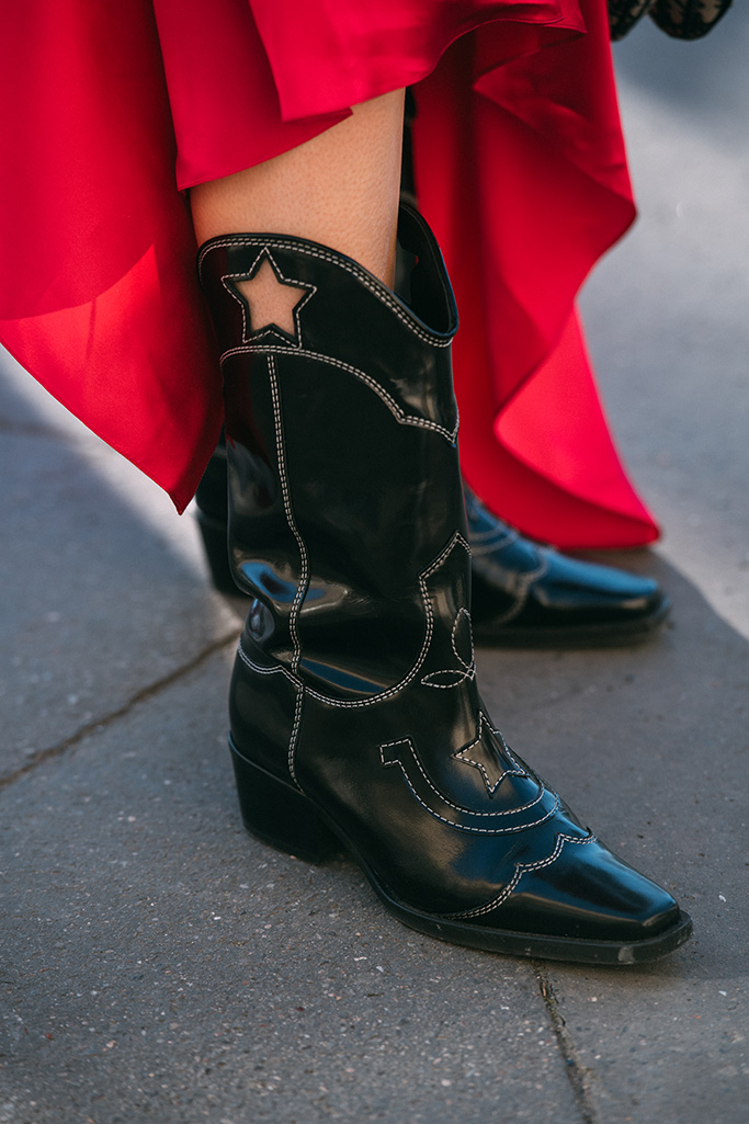 ganni boots, paris fashion week street style