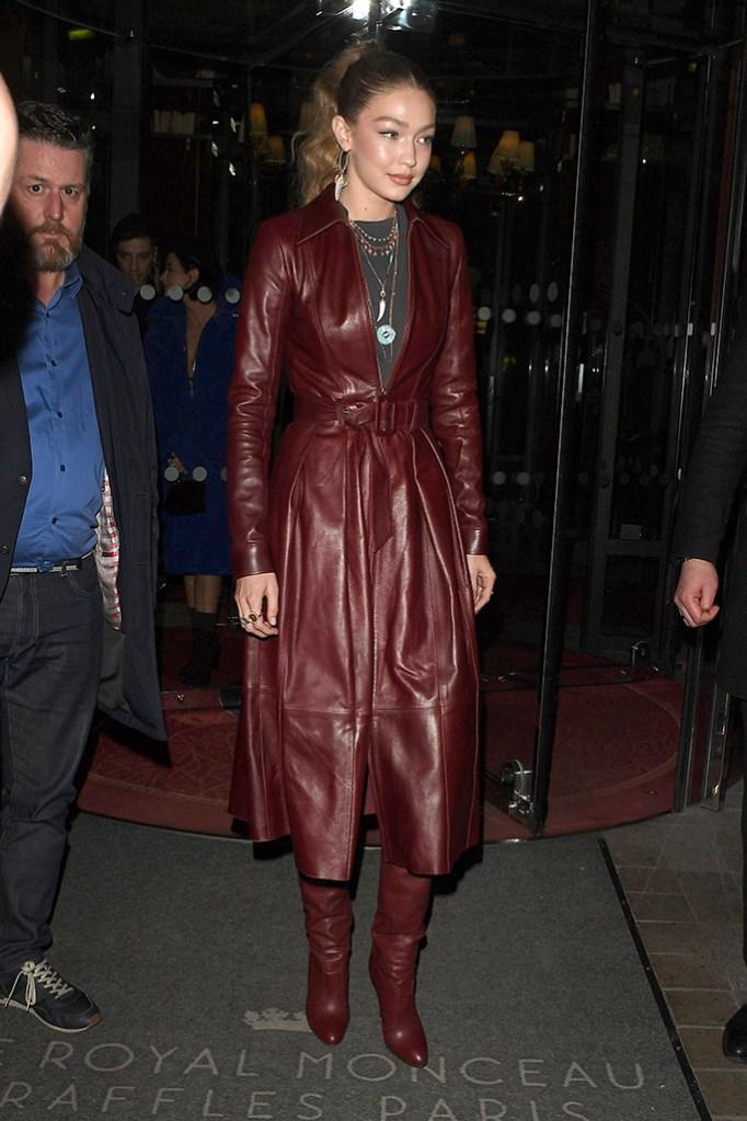 Gigi Hadid, tommy x zendaya, paris fashion week, leather jacket, boots, Gigi Hadid out and about, Paris Fashion Week, France - 02 Mar 2019