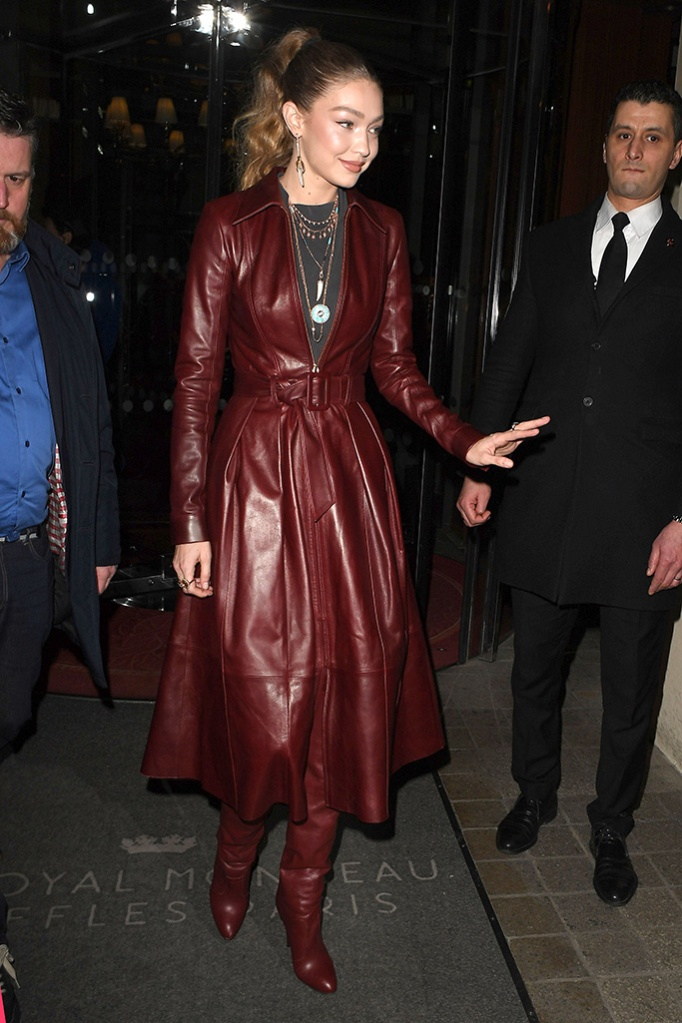 Gigi Hadid, paris fashion week, leather coat, thigh-high boots, celebrity style, high ponytail, Gigi Hadid out and about, Paris Fashion Week, France - 02 Mar 2019