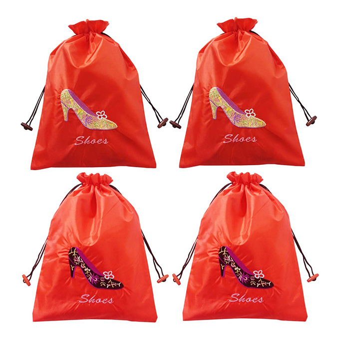 Gold Fortune 4 Packs Embroidered Shoe Bags