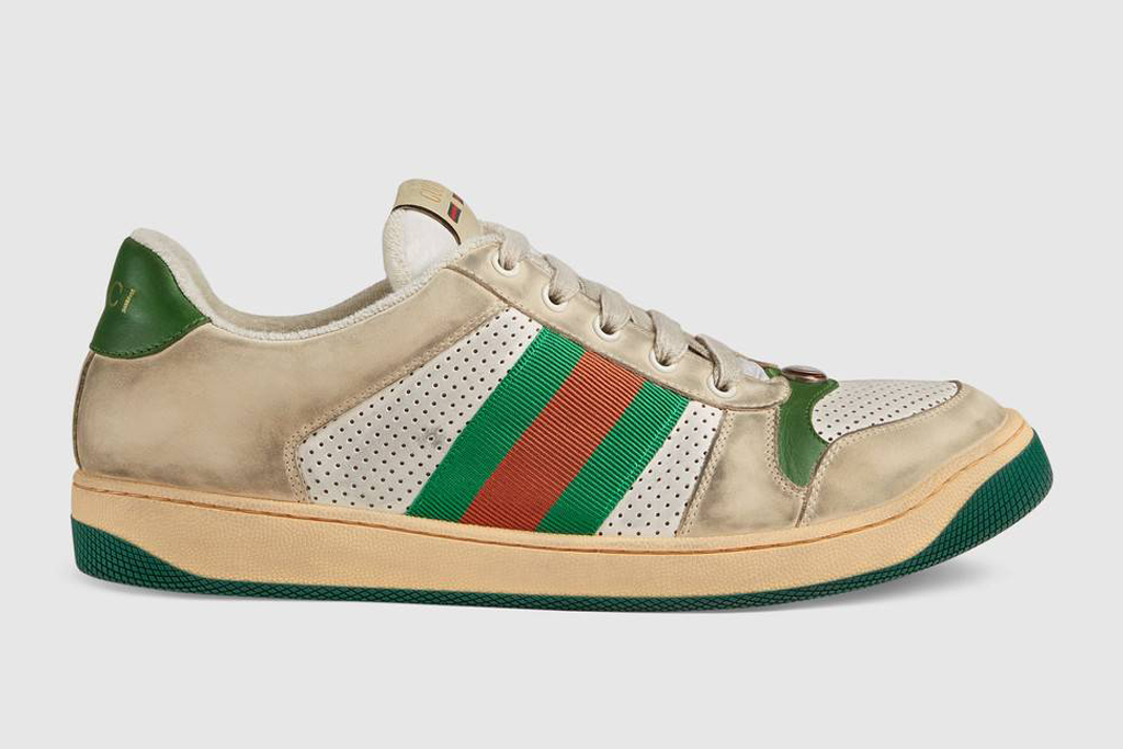 gucci, Screener leather sneaker, dirty sneaker